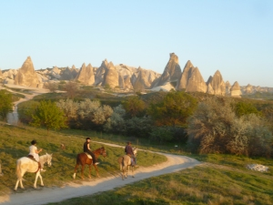 Goreme valley at sunset