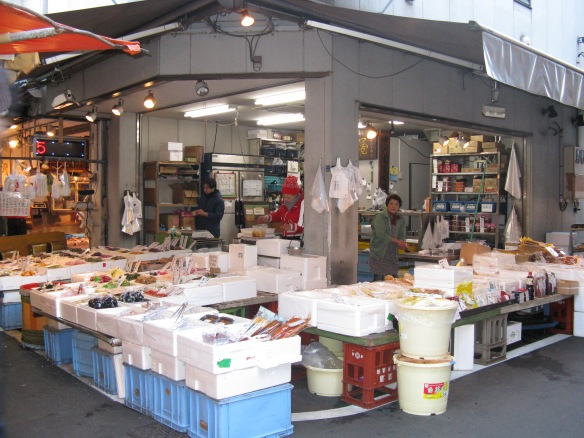 Inside Tsukiji Fish market - get their early and its busy, later in the morning and its quieter, great time to wander.