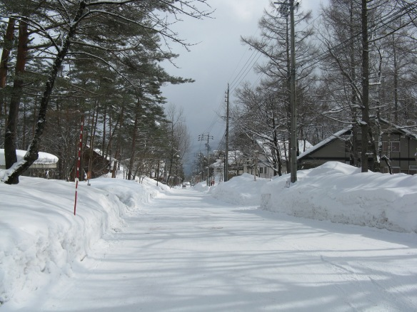 The snow in Hakuba town, the ski resort we were staying at!