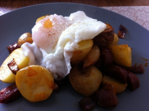 Chorizo hash and poached egg