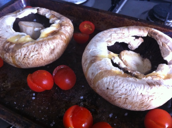 Mushroom and tomatoes ready for the oven