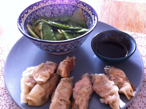 Gyoza served with steamed pak choi and soy sauce