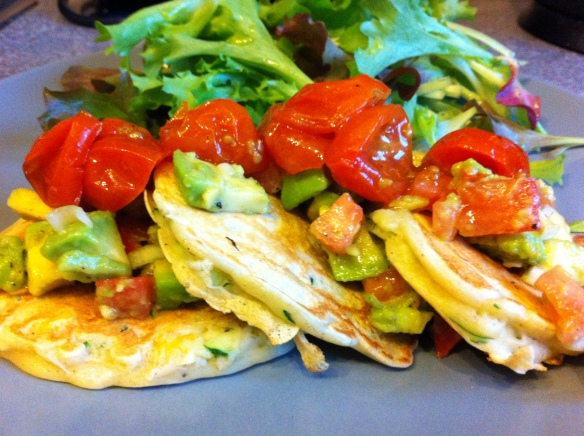 Courgette and Sweetcorn fritters with avacado salad and roast cherry tomatoes!