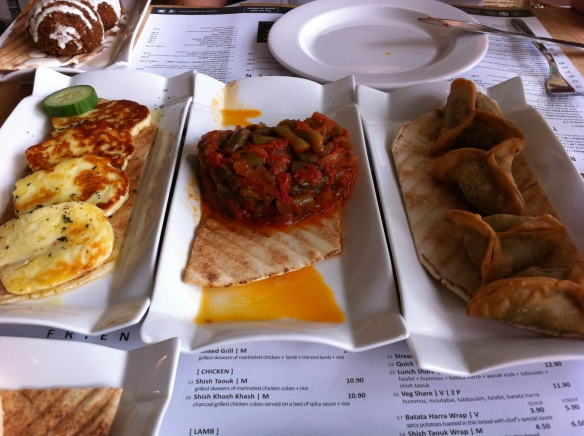 Some of the dishes on offer at Beyrouths, halloumi, lebanese beans, spinach stuffed pastries! yum!