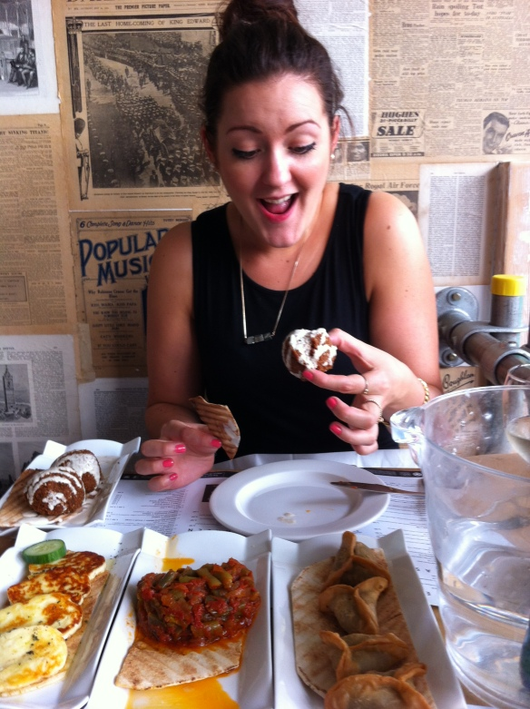 My sister enjoying her Lebanese feast!