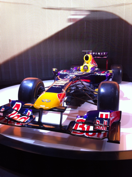 just a formula 1 car sitting in a restaurant