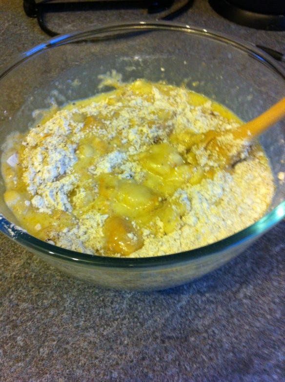 Add all the ingredients and mix together - you will need some elbow grease as the peanut butter is tough to mix!