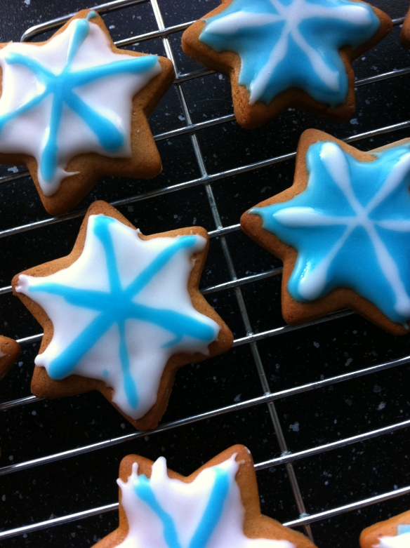 A touch of Christmas baking with gingerbread snowflakes