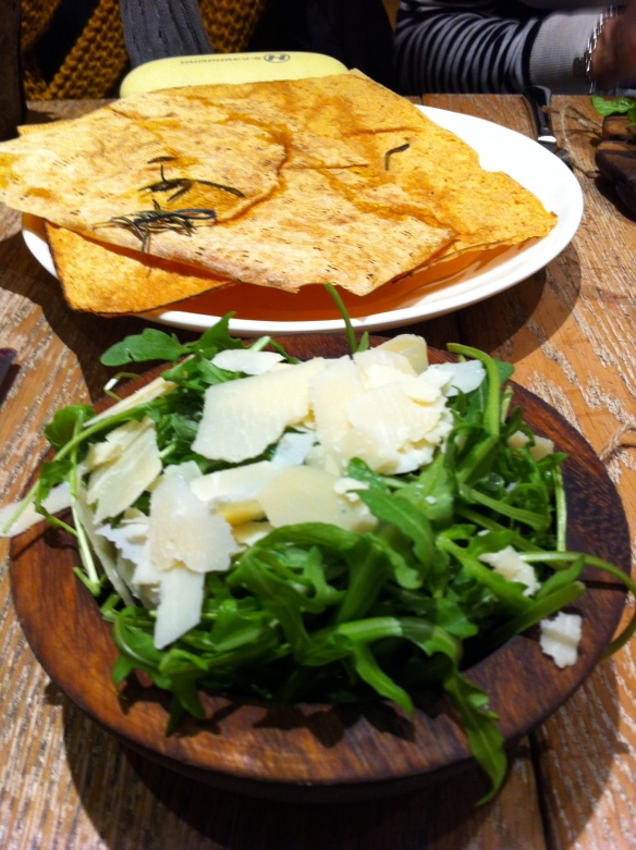 Sides - Rocket and Parmesan salad and Sardinian piano bread