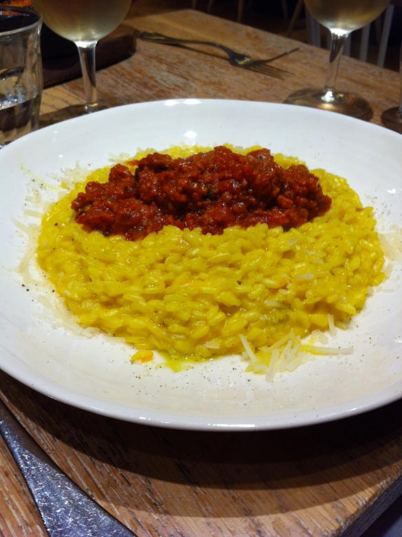 Risotto with Saffron and sausage ragu