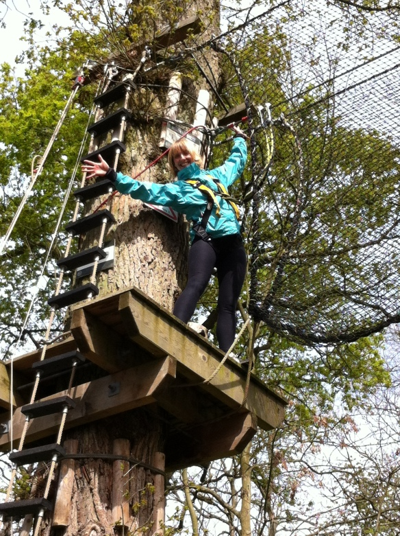 Ailsa enjoying her hen party at the high ropes!