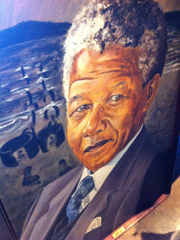A portraid of Nelson Mandela in the Mandela House Museum