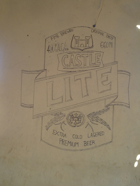 We had a little nosey in the local tavern, the stark walls only decoration were these doodles of beer logos