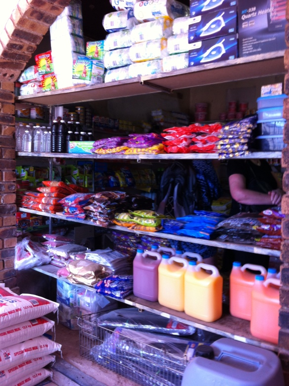 Inside the local shop in the village