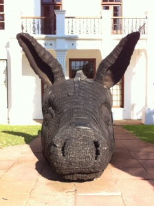 One of the best things about Stellenbosch, other than the wine were the sculptures that were dotted around the streets, an interesting way of exhibiting art and a great insight into the minds of young south african art students