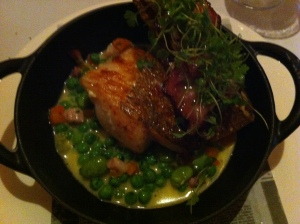 roasted cod with peas a la francaise