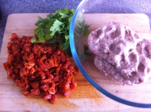 Your three main ingredients, sausage meat, chorizo and lots of parsley