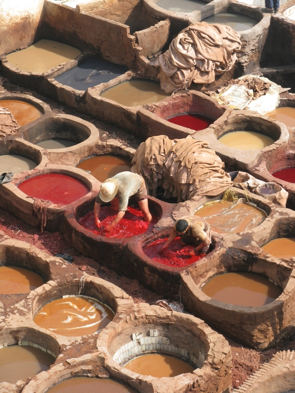 The tanneries in Fez continue a way of life that has been going since the Roman age.