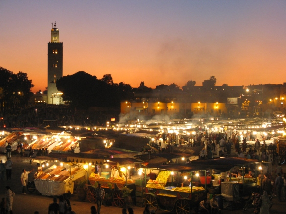 Jemaa el Fna - music fills the air, the coals of open barbaques fill the air with smoke, people everywhere - this is an evening in Marakesh!