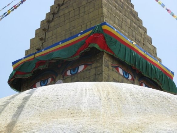 boudhanath stupa - the eyes on this stupa are synonymous with Kathmandu, they seem to watch you from wherever you are standing, it is a wonderful structure