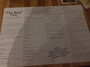 One of the longest burger lists I have ever seen