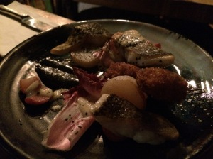 Seared Sea Bass, Deep Fried Oyster, Radish, Squid Ink Aioli, Chardonnay Foam