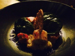 Papa G's Chorizo, Guineafowl ballotine, Chorizo and Parmesan risotto, skin shard, cherry tomatoes and Spinach