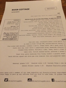 The delightful menu at the River Cottage Canteen in Bristol