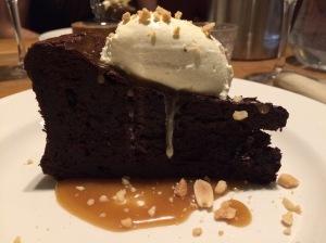 Chocolate torte with ice cream and caramel
